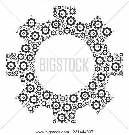 Gear Collage Of Gearwheels. Vector Cog Wheel Pictograms Are Organized Into Gear Figure.