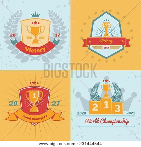 World Cup Championships Winners Awards Gold Trophies Emblems 4 Flat Colored Background Icons Collect