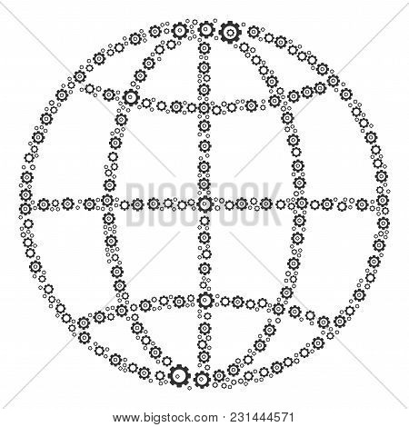 Globe Collage Of Gearwheels. Vector Gear Pictograms Are United Into Globe Collage.