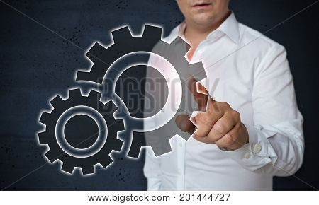 Gear Touchscreen Is Operated By Man Concept.