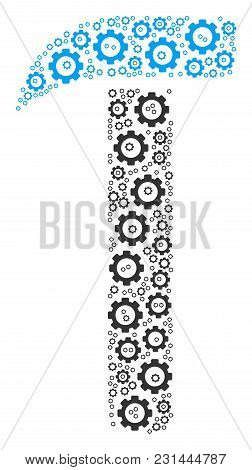 Hammer Collage Of Cogs. Vector Cog Wheel Elements Are Combined Into Hammer Figure.