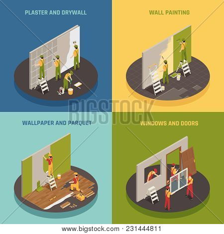 Home Renovation Remodeling 4 Isometric Icons Concept With Wallpaper Hanging Window Frames Doors Repl