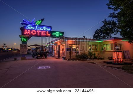 Tucumcari, New Mexico, Usa - May 13, 2016 : Historic Blue Swallow Motel At Sunset. This Building Is