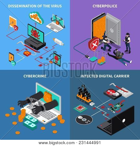 Hardware Protection Concept Icons Set With Infected Digital Carrier Symbols Isometric Isolated Vecto