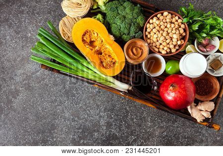 Food Ingredients Of Asian Cuisine On A Bamboo Tray
