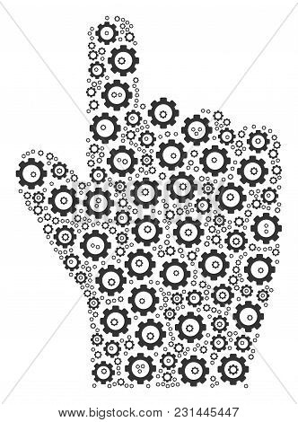 Index Finger Mosaic Of Cogs. Vector Gearwheel Elements Are United Into Index Finger Figure.