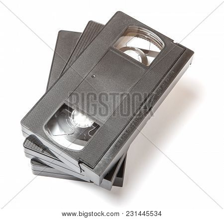 Vhs Video Cassette With Film On White Isolated Background