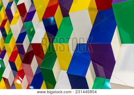 Colorful Acrylic Structure Pattern Creating Abstract Geometric Wall