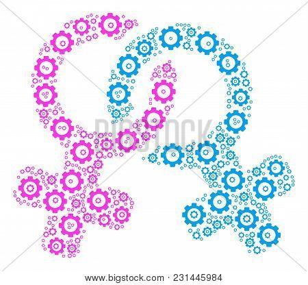 Lesbi Symbol Composition Of Gearwheels. Vector Gear Symbols Are United Into Lesbi Symbol Figure.