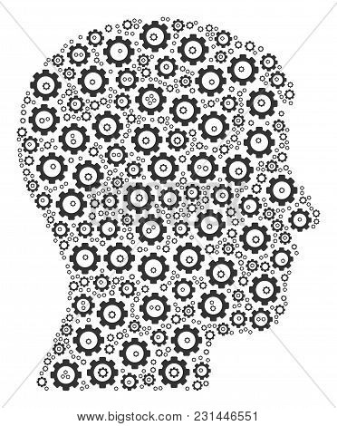 Man Head Profile Composition Of Cogs. Vector Gearwheel Pictograms Are Grouped Into Man Head Profile