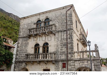 Perast, Montenegro - September 12: The Old Building In Which The Museum Is Located In The European D