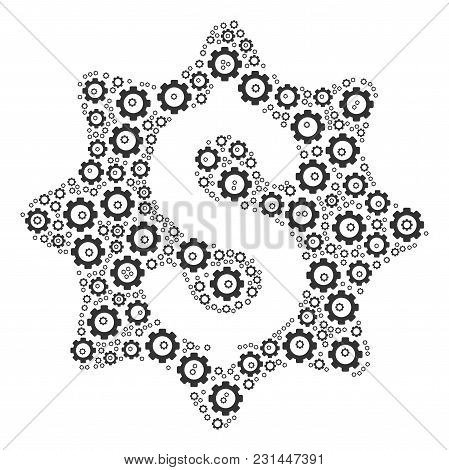 Money Award Composition Of Vector Gears. Vector Tooth Gear Components Are Organized Into Money Award