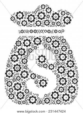 Money Bag Mosaic Of Cog Wheels. Vector Gear Wheel Symbols Are Composed Into Money Bag Shape.