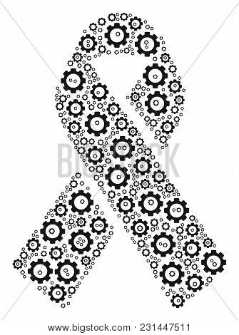 Mourning Ribbon Mosaic Of Tooth Gears. Vector Cog Wheel Objects Are Organized Into Mourning Ribbon M