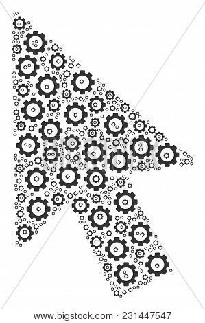 Mouse Cursor Composition Of Gearwheels. Vector Gearwheel Elements Are Combined Into Mouse Cursor Col