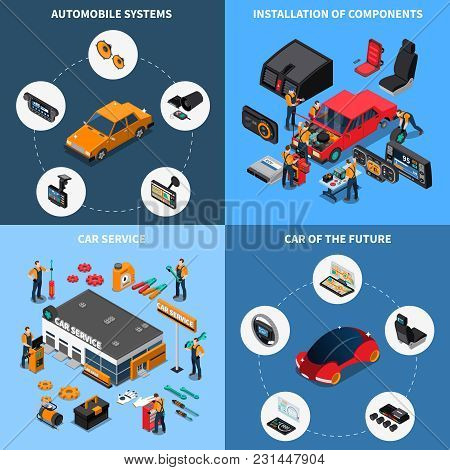 Car Electronics Concept Icons Set With Car Of The Future Symbols Isometric Isolated Vector Illustrat