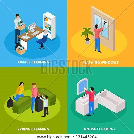 Spring Thoroughly Cleaning Concept 4 Isometric Icons With Office Tidying Up Windows Bathroom Washing