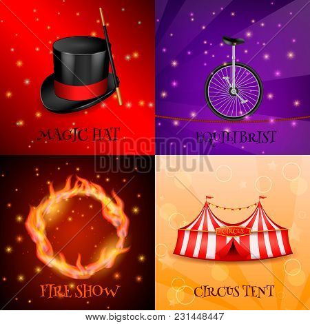 Circus 2x2 Realistic 3d Design Concept With Four Backgrounds For Magic Show Colourful Images And Tex