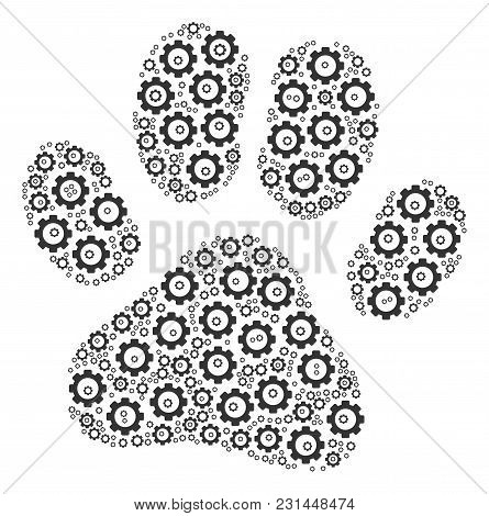 Paw Footprint Mosaic Of Gearwheels. Vector Cogwheel Items Are Grouped Into Paw Footprint Composition