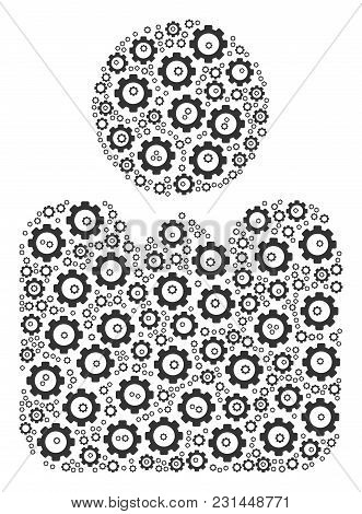 Person Mosaic Of Cog Wheels. Vector Cog Objects Are Grouped Into Person Collage.