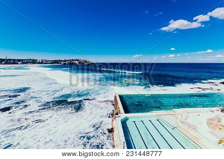 Sydney, Australia - July 4th, 2013: View Of Bondi Beach One Of The Most Famous Areas Of Sydney In Wi