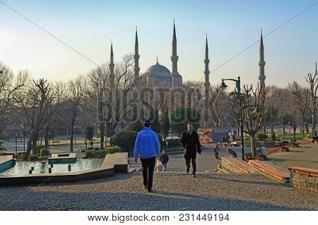 Istanbul, Turkey - March 23, 2012: Square In Front Of The Mosque Of Sultanahmet.