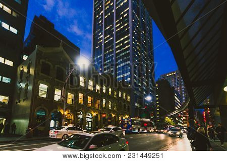 Sydney, Australia - July 10th, 2013: Busy Streets Of Sydney Cbd At Dusk