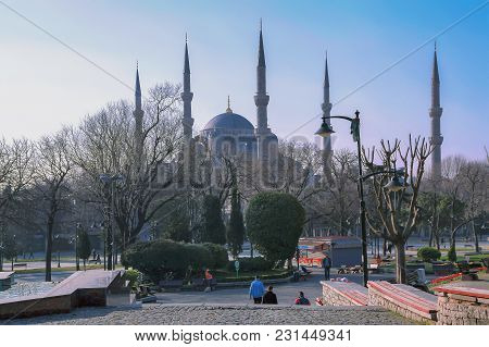 Istanbul, Turkey - March 23, 2012: Square On The Background Of Blue Mosque.
