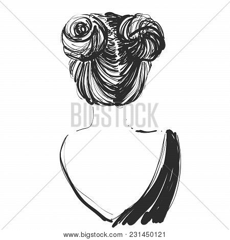 Young Beautiful Girl. Sketch. Vector Illustration. Hair