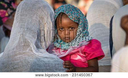 Turmi, Ethiopia - September 2017: Portrait Of An Unidentified Ethiopian Girl Celebrating The Meskel