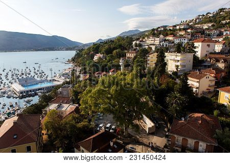 Herceg-novi, Montenegro - September 8: City Center Near The Water In The Area With A Yacht Harbour A