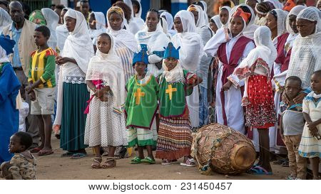 Turmi, Ethiopia - September 2017: Unidentified Ethiopian People Celebrating The Meskel Festival In E