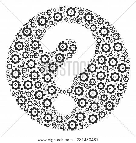 Query Mosaic Of Cog Wheels. Vector Gear Items Are Combined Into Query Figure.