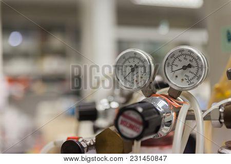 Close Up Gauges And Valve On Old Nitrogen Gas