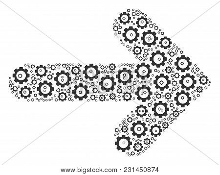 Right Arrow Mosaic Of Mechanical Wheels. Vector Gear Symbols Are Grouped Into Right Arrow Collage.