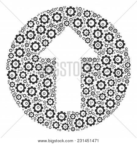 Rounded Arrow Mosaic Of Vector Gears. Vector Gear Wheel Pictograms Are Combined Into Rounded Arrow F