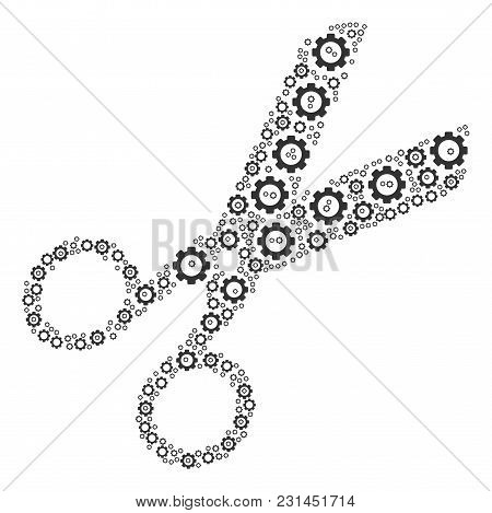 Scissors Collage Of Gears. Vector Cog Wheel Pictograms Are United Into Scissors Mosaic.