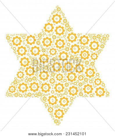 Six Pointed Star Mosaic Of Gear Elements. Vector Gear Objects Are Combined Into Six Pointed Star Col