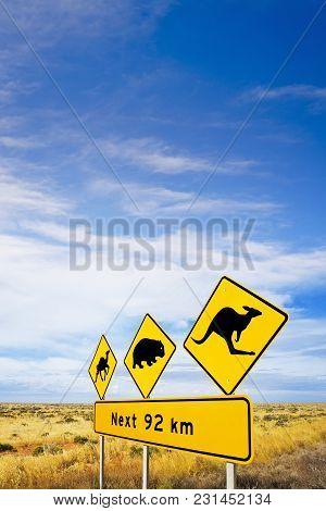 Famous Sign On Nullarbor Plain, South Australia, Warning Motorists Of Camels, Wombats And Kangaroos,