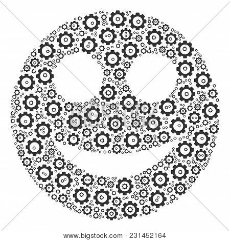Smile Composition Of Vector Gears. Vector Gearwheel Components Are Organized Into Smile Pattern.