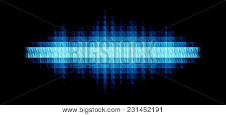 Audio Or Music Blue Shiny Sound Waveform With Triangular Light Filter With Colorful Triangles For Pa