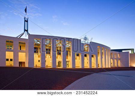 5 January 2007: Canberra, Australia - Australian Parliament House Illuminated At Twilight. Slight Mo