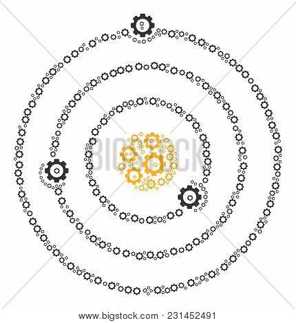 Solar System Mosaic Of Cog Wheels. Vector Gearwheel Symbols Are Organized Into Solar System Pattern.