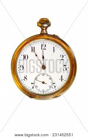Beautiful Old Pocket Watch In Brass Case, With Hands Showing Five Minutes Before Twelve. Concepts Of
