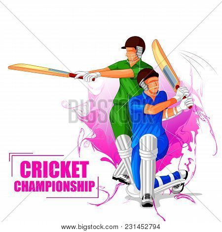 Vector Illustration Of Sports Background For The Match Cricket Championship Tournament