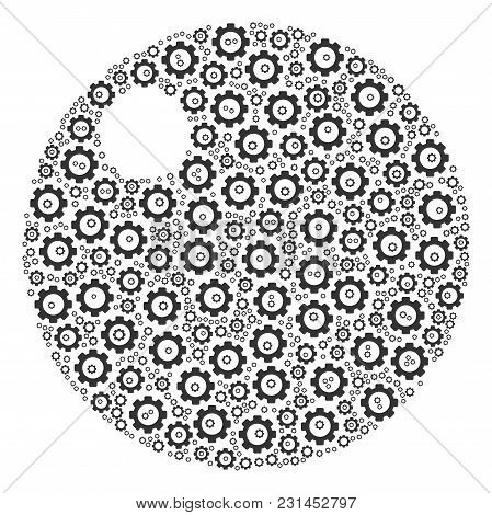 Sphere Composition Of Gears. Vector Cogwheel Pictograms Are Combined Into Sphere Mosaic.
