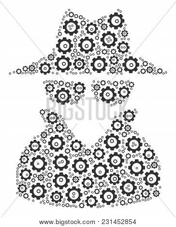 Spy Collage Of Gears. Vector Cog Objects Are Grouped Into Spy Collage.