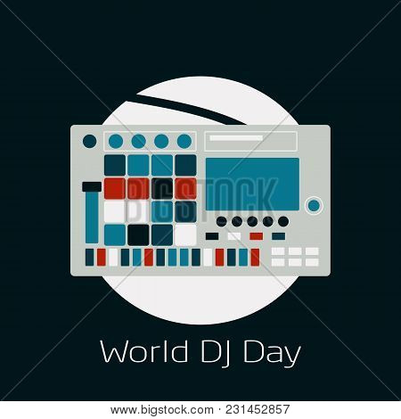 World Dj Day. Vector Illustration For Design Of A Musical Feast. Image Of The Silhouette Of The Midi