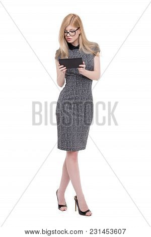 Young Smart Blonde Caucasian Businesswoman In Eyeglasses Holding Tablet, Isoalted On White