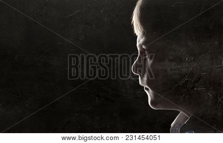 Silhouette of kid boy